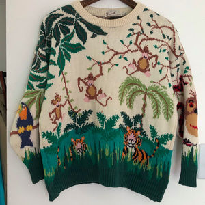 Vintage 80s 90s Jungle Print Crew Neck Sweater M